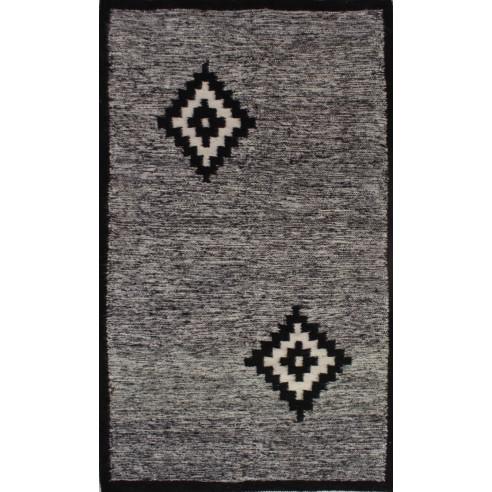 Tapis kilim traditionnel noir et blanc moucheté