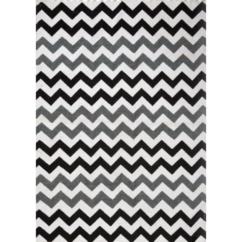 Tapis style scandinave zigzag noir et gris