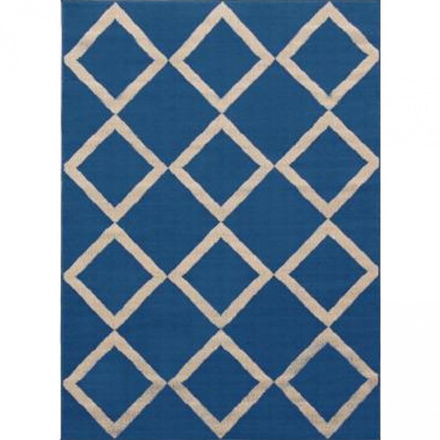 tapis bleu scandinave avec losange blanc 100 artisanal. Black Bedroom Furniture Sets. Home Design Ideas
