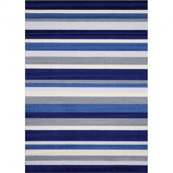 Blue-striped Kilim Rug