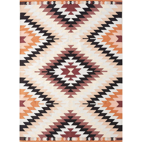 Tapis kilim multicolore chargé
