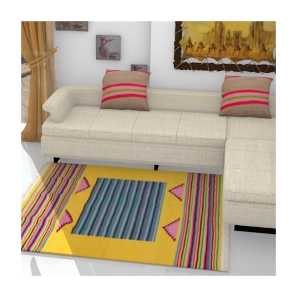 Tapis Kilim contemporain jaune