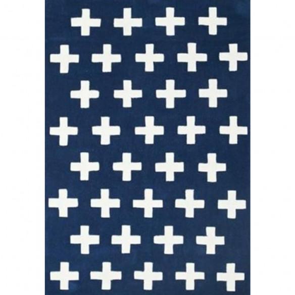Tapis scandinave en laine bleu