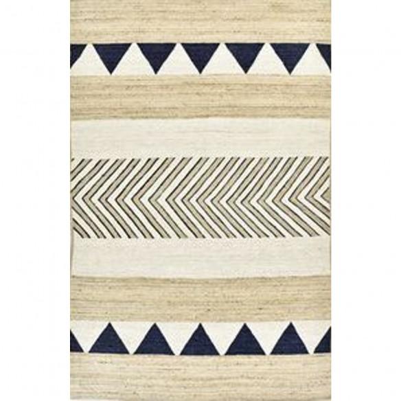 Tapis kilim contemporain en laine beige