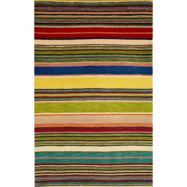 Kilim carpet striped with a mixture of colors