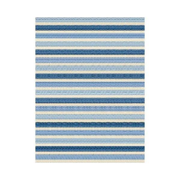 Tapis kilim rayé nuances bleu et blanc