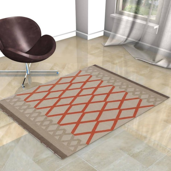 TAPIS KILIM MARGOOM BEIGE AVEC LOSANGE ORANGE