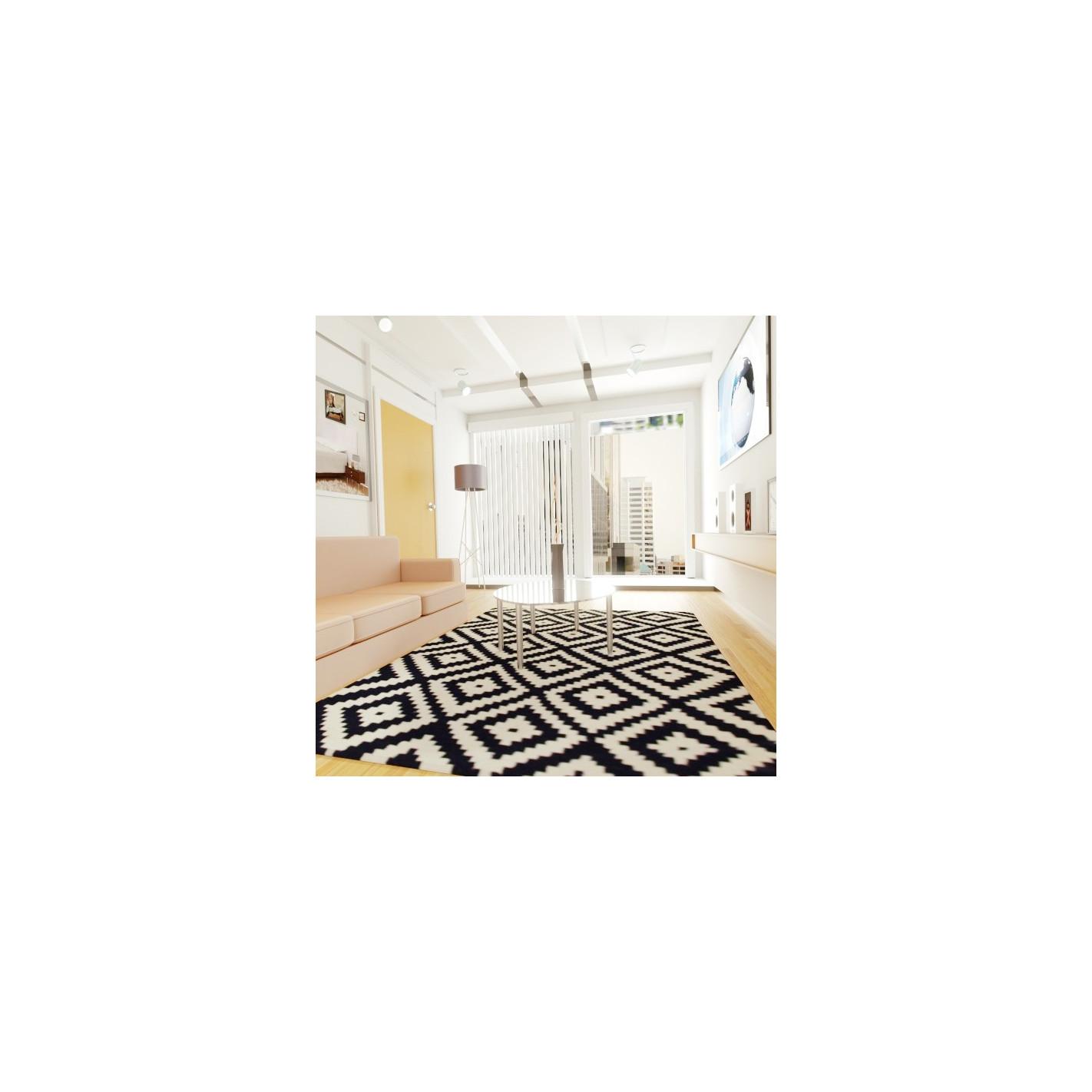 tapis style scandinave bleu et blanc. Black Bedroom Furniture Sets. Home Design Ideas