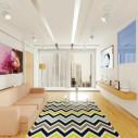 Tapis style scandinave zigzag bleu, noir et blanc