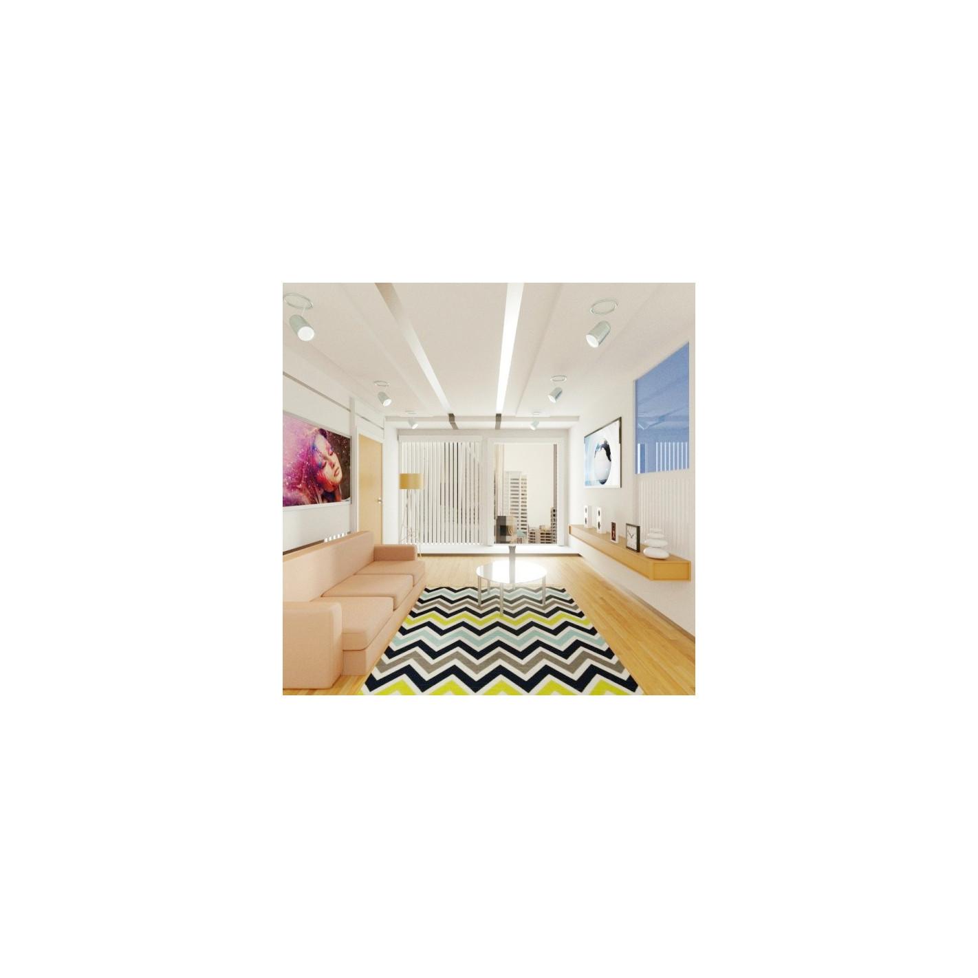 tapis style scandinave zigzag bleu noir et blanc margoom. Black Bedroom Furniture Sets. Home Design Ideas