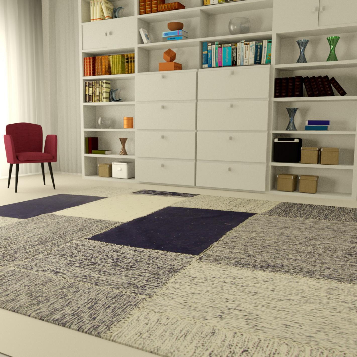 tapis patchwork bleu margoom. Black Bedroom Furniture Sets. Home Design Ideas