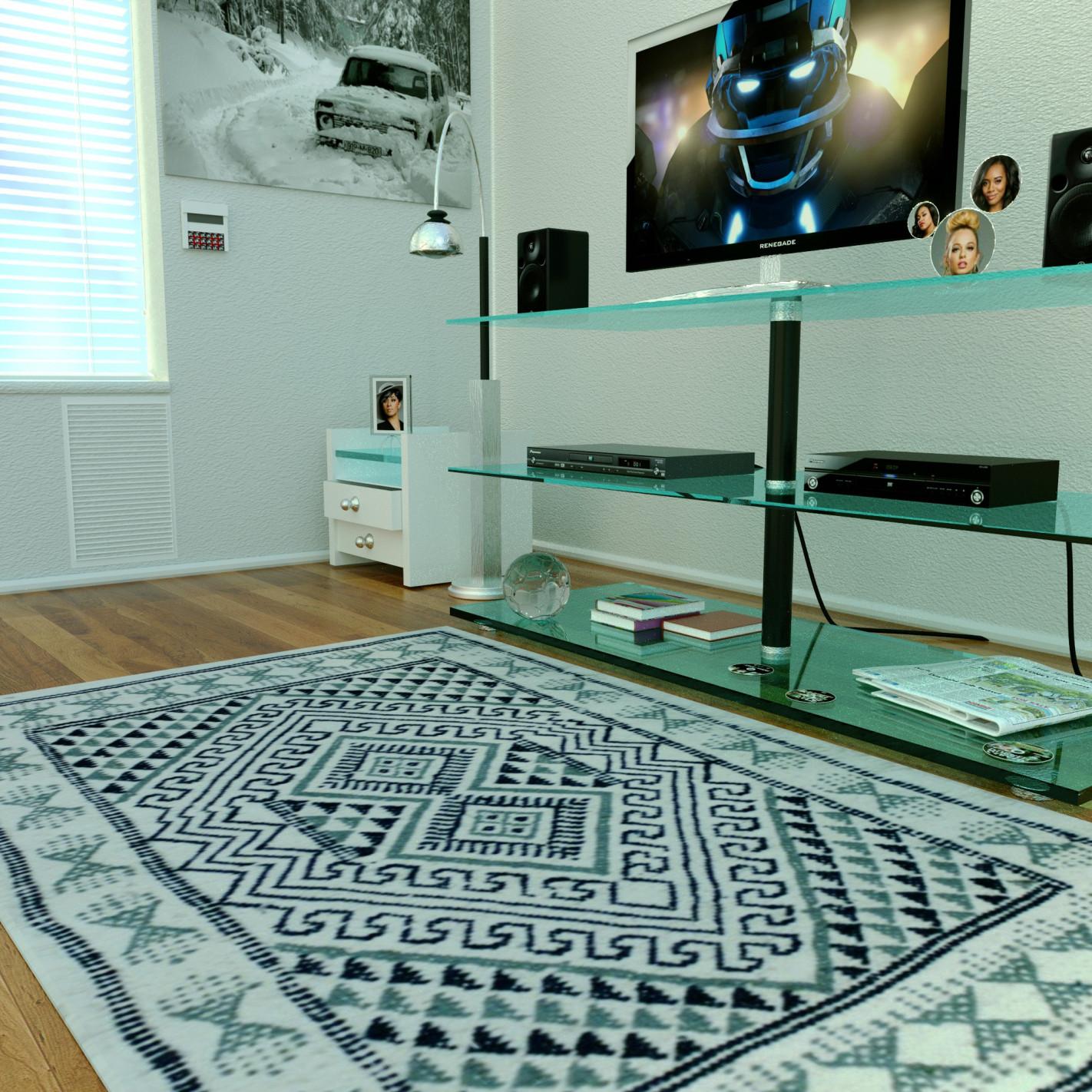 tapis margoom blanc motif nuance bleu. Black Bedroom Furniture Sets. Home Design Ideas