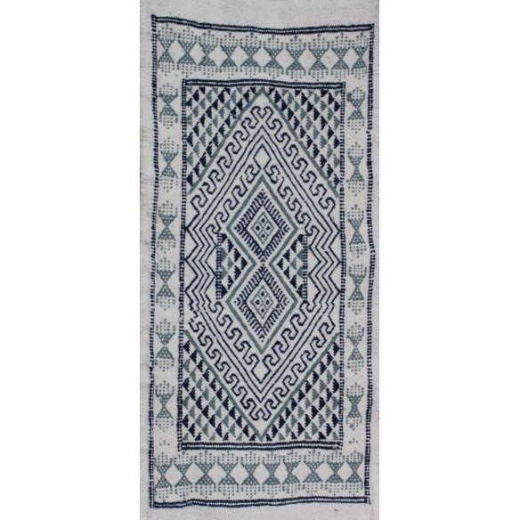 Tapis Margoom blanc motif nuance bleu
