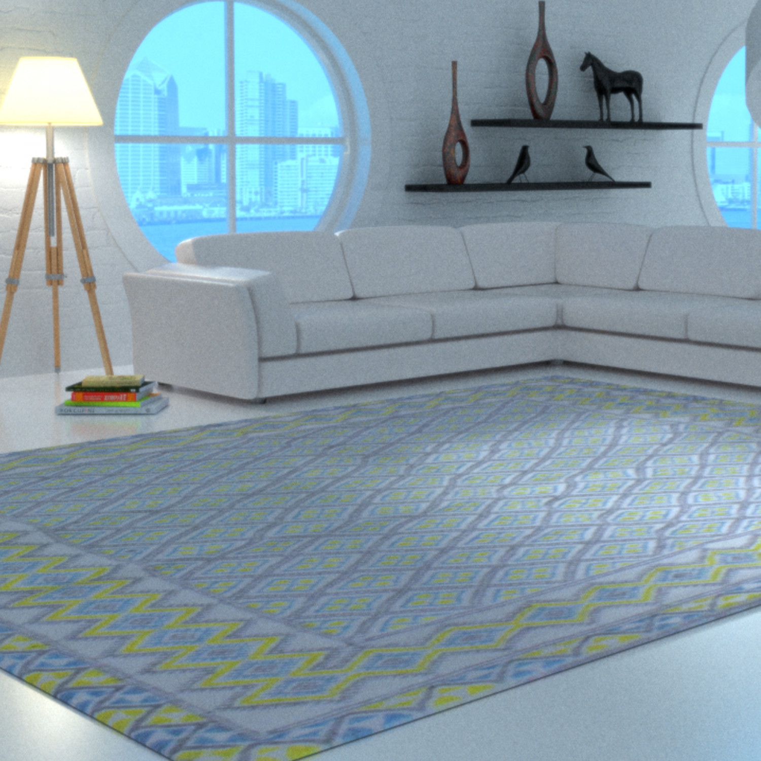 tapis margoom traditionnel motif jaune et bleu. Black Bedroom Furniture Sets. Home Design Ideas