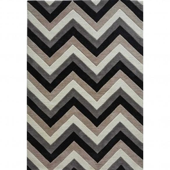 Tapis scandinave zigzag beige, noir et blanc
