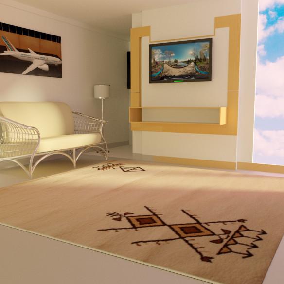 Tapis berbère blanc motif traditionnel