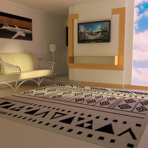 tapis kilim noir et blanc motif traditionnel margoom. Black Bedroom Furniture Sets. Home Design Ideas