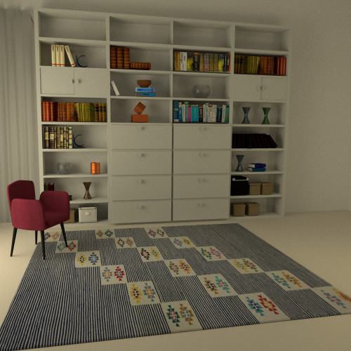 tapis kilim bleu motif traditionnel