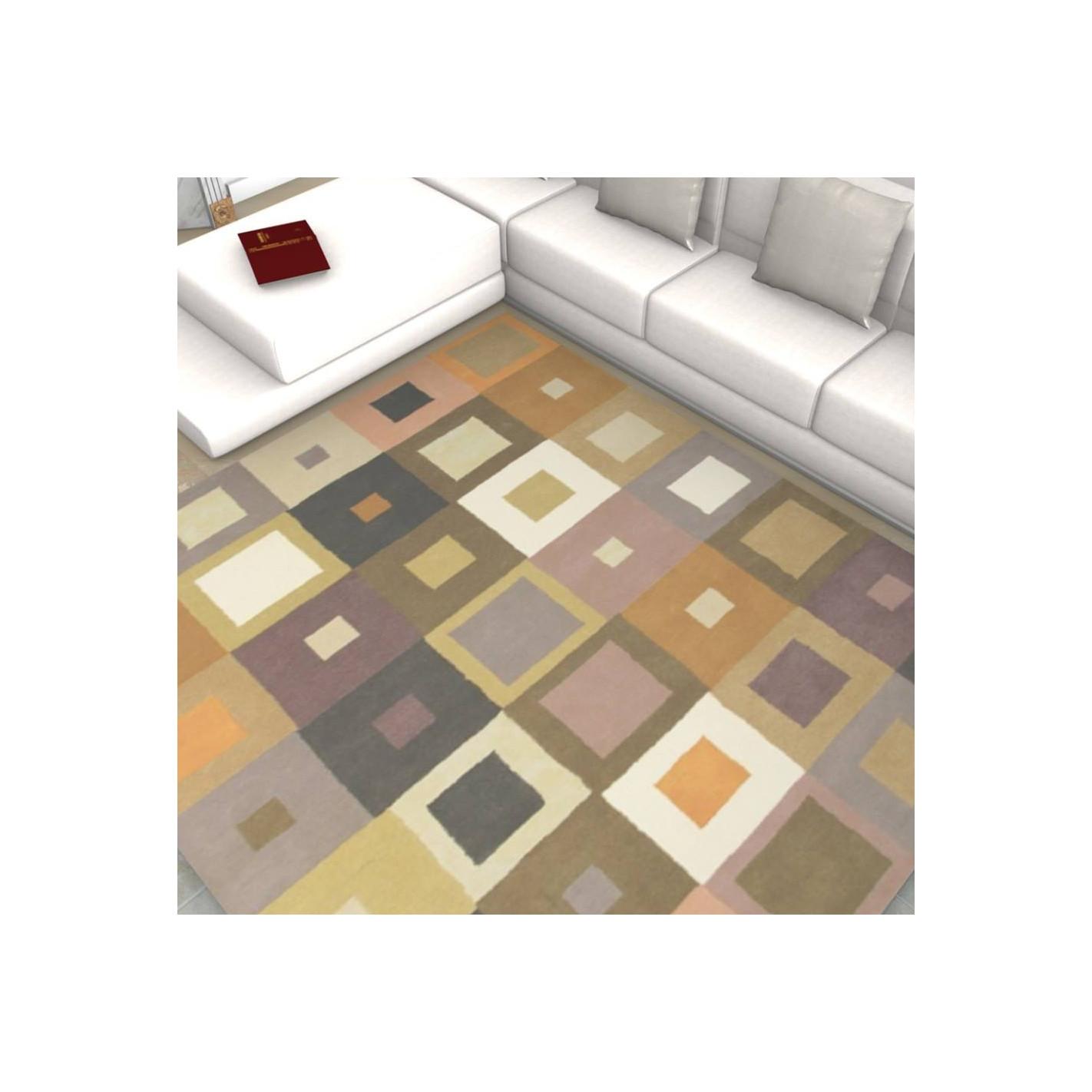 tapis kilim multicolore motifs carr - Tapis Kilim