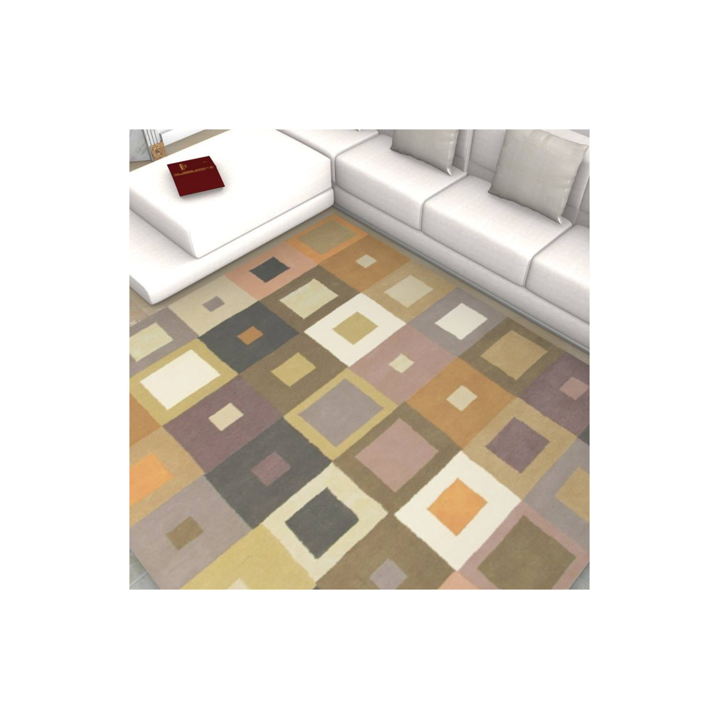 tapis scandinave nuances beiges motifs carr. Black Bedroom Furniture Sets. Home Design Ideas