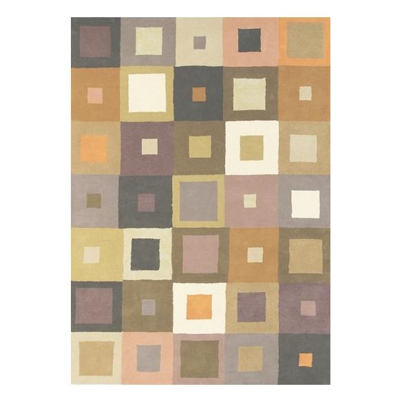 Tapis Scandinave nuances beiges motifs carré