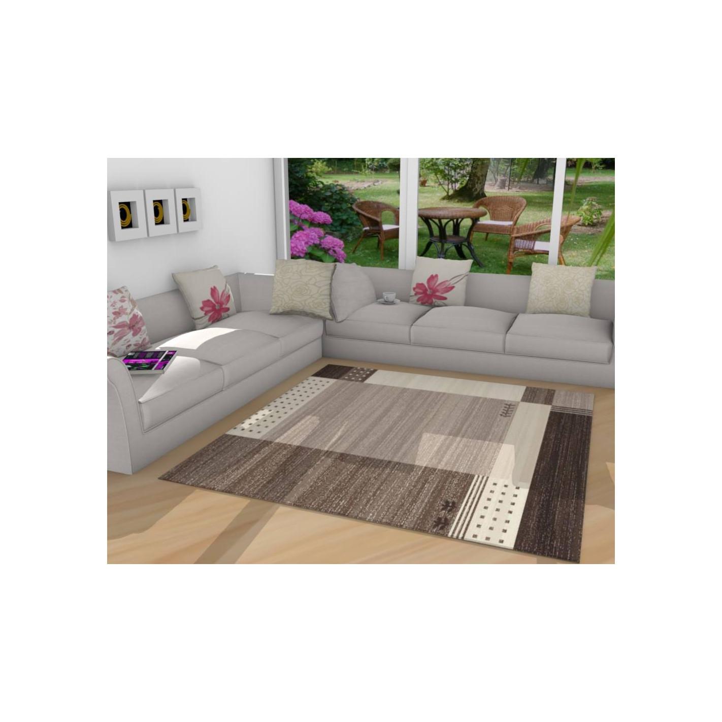tapis kilim moderne en marron blanc sale. Black Bedroom Furniture Sets. Home Design Ideas