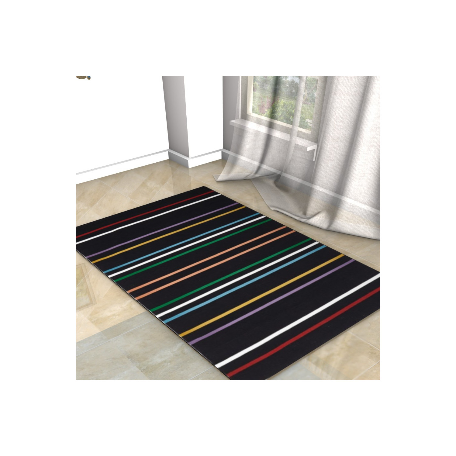 tapis kilim noir ray color. Black Bedroom Furniture Sets. Home Design Ideas