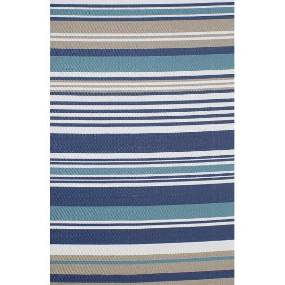 Tapis kilim rayé mélange de bleu tricolore