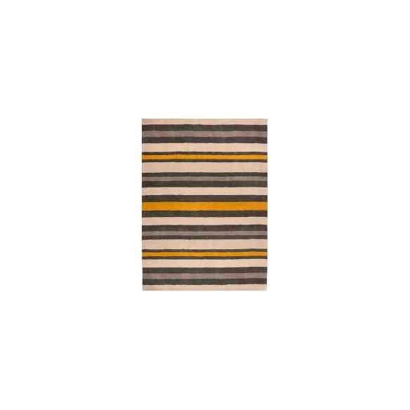 Tapis kilim rayé multicolore jaune, Noir et beige