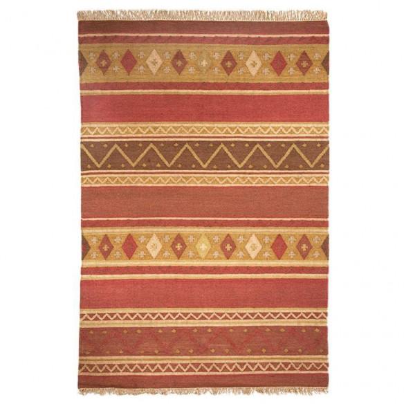 Tapis kilim multicolore rayé rouge brique