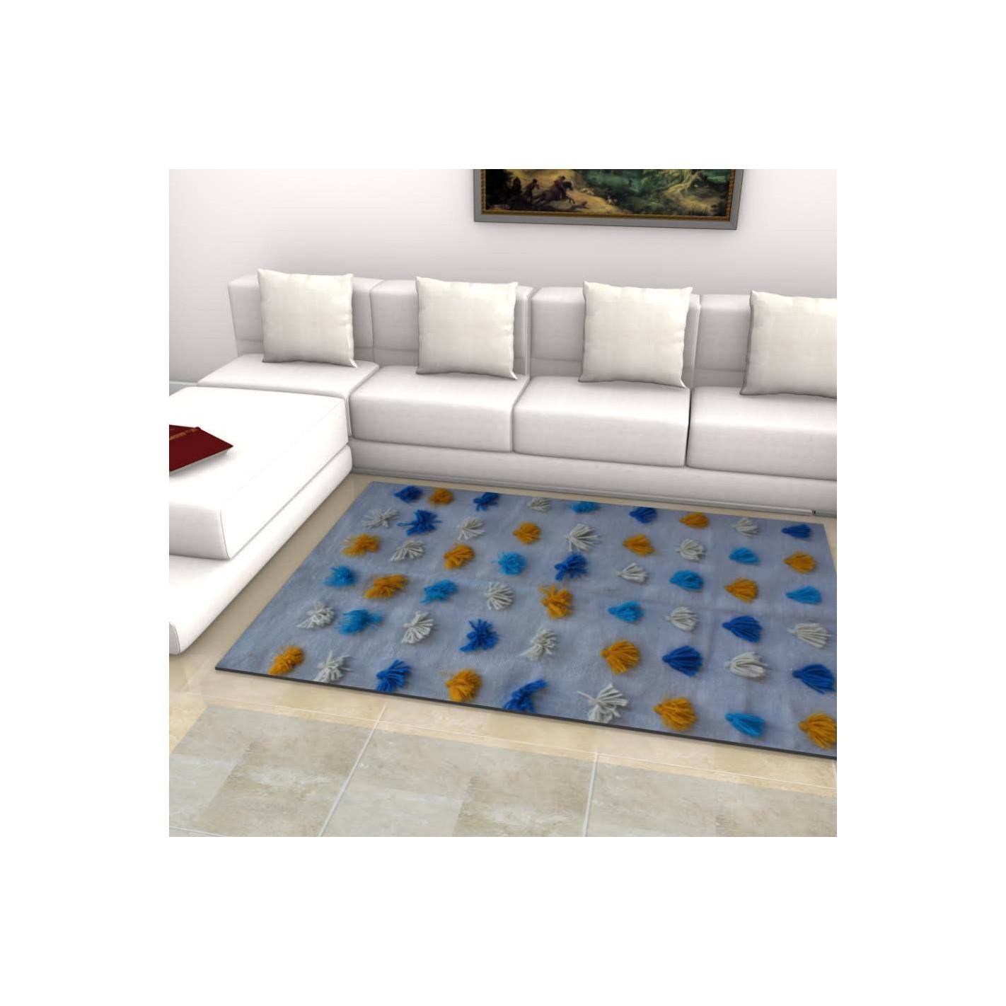 tapis bleu avec des boutons color s margoom. Black Bedroom Furniture Sets. Home Design Ideas