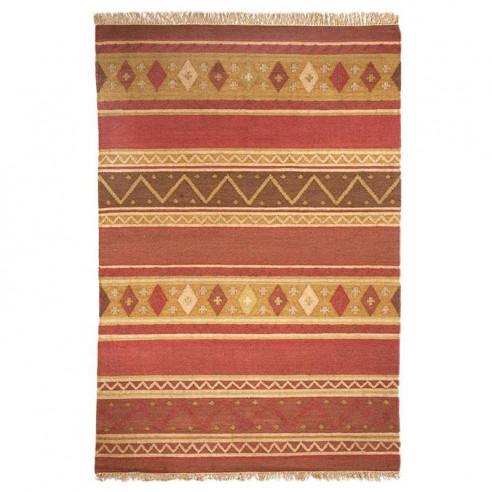 Tapis Kilim motifs orangé