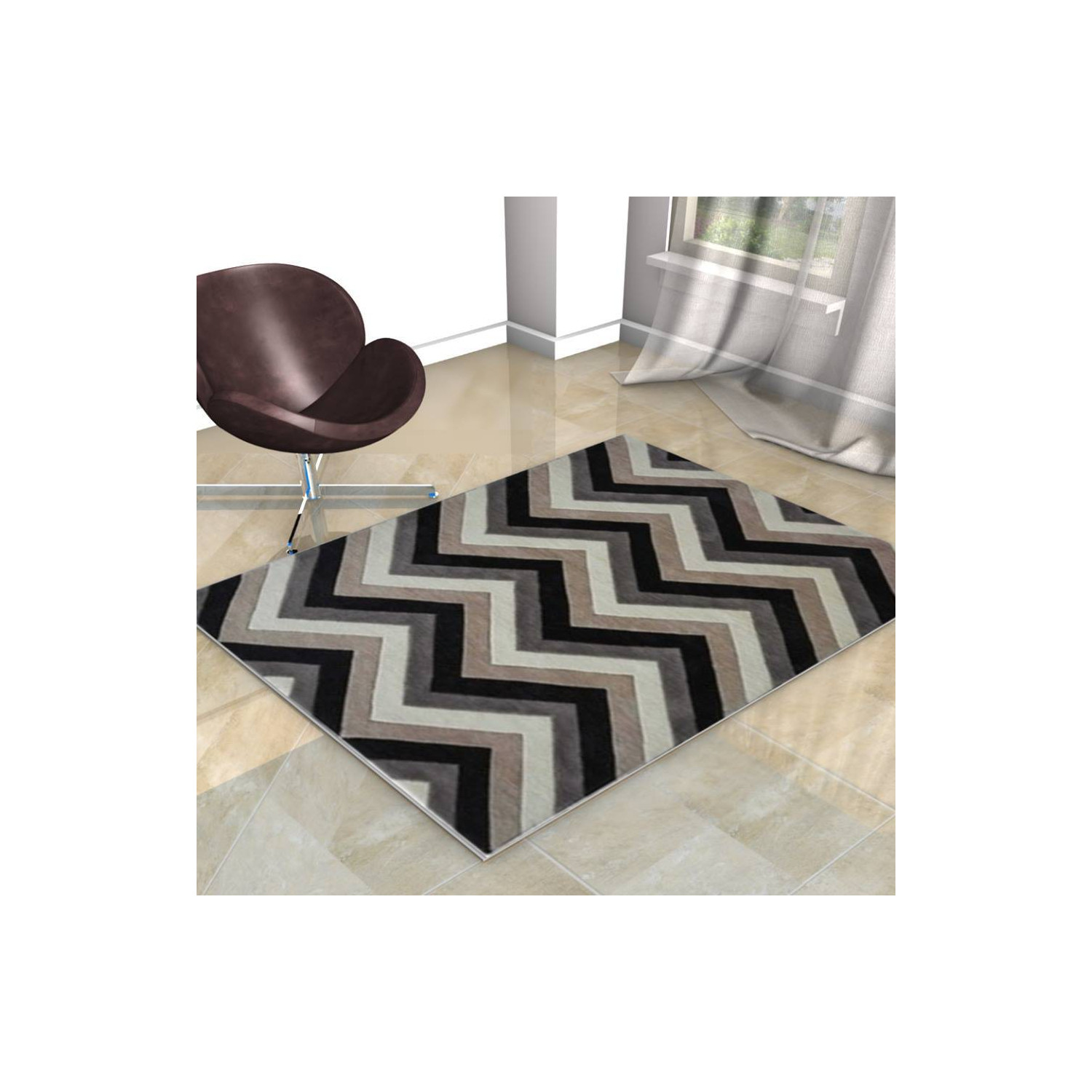 tapis scandinave zigzag beige noir et blanc. Black Bedroom Furniture Sets. Home Design Ideas