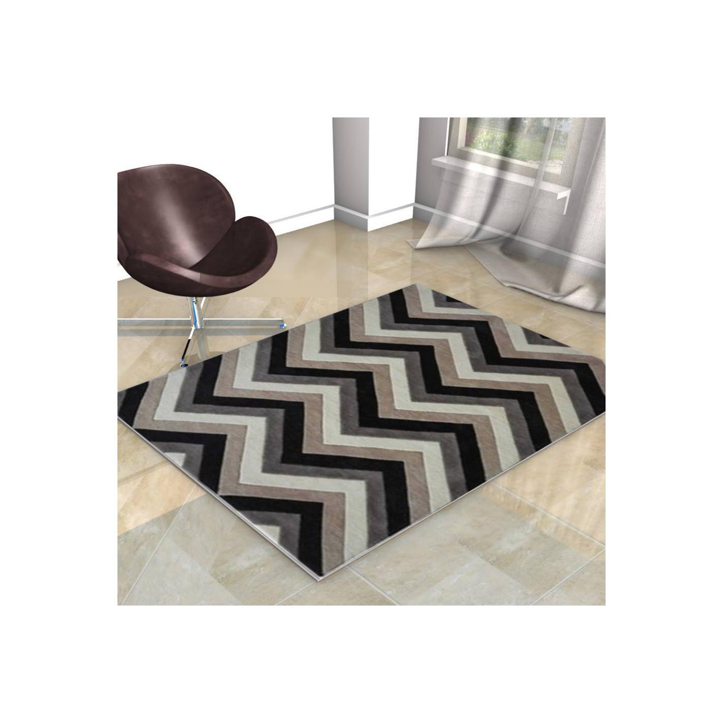 Tapis Noir Et Blanc Scandinave : tapis scandinave zigzag beige noir et blanc ~ Teatrodelosmanantiales.com Idées de Décoration