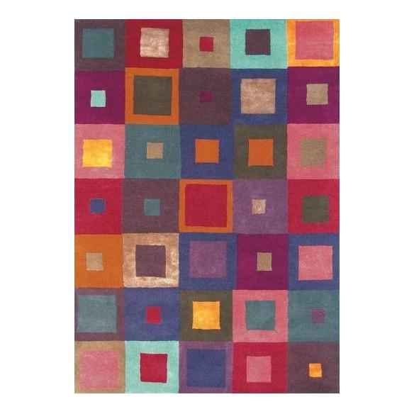 Tapis Scandinave multicolore motifs carré